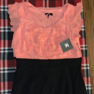 NWT Coral & Black Cocktail Dress